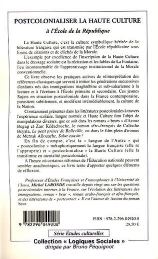 4eme Postcolonialiser la haute culture à l'école de la république