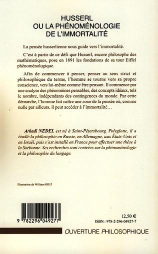 4eme Husserl ou la phénoménologie de l'immortalité