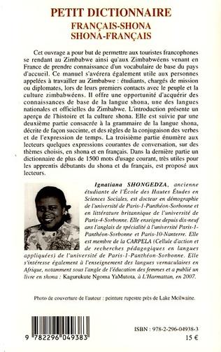 4eme Petit dictionnaire français-shona shona-français