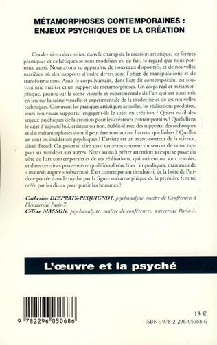 4eme Métamorphoses contemporaines : enjeux psychiques de la création