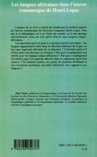 4eme Les langues africaines dans l'oeuvre romanesque de Henri Lopes