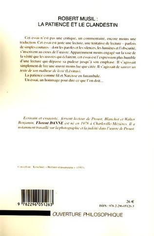 4eme Robert Musil : la patience et le clandestin