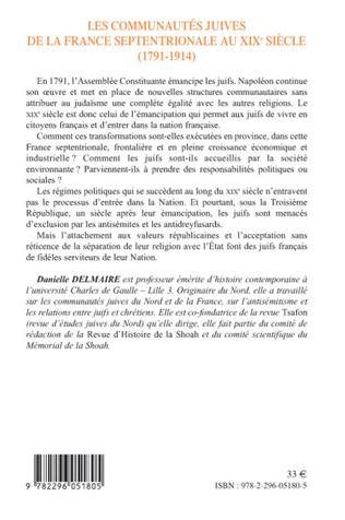 4eme Les communautés juives de la France septentrionale au XIX° siècle (1791-1914)