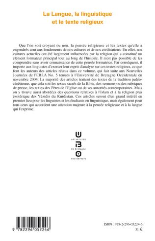 4eme La langue, la linguistique et le texte religieux