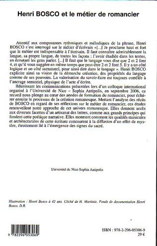 4eme Henri Bosco et le métier de romancier