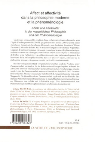 4eme Affect et affectivité dans la philosophie moderne et la phénoménologie