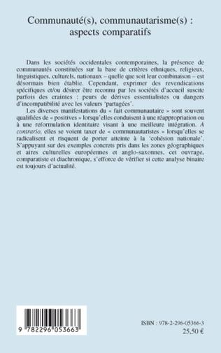 4eme Communauté(s), communautarisme(s): aspects comparatifs