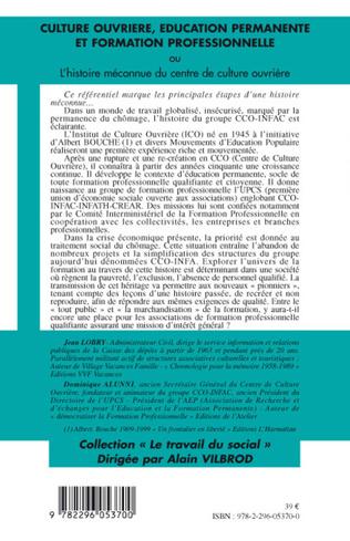 4eme Culture ouvrière, éducation permanente et formation professionnelle