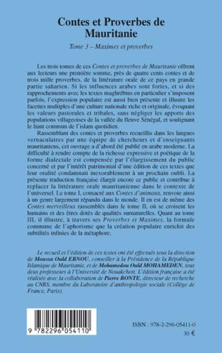 4eme Contes et proberves de Mauritanie - Tome 3