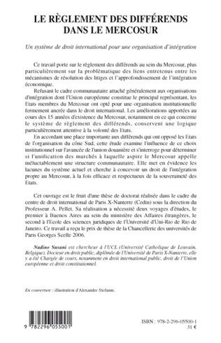 4eme Le règlement des différends dans le Mercosur