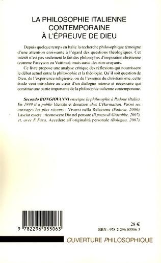 4eme La philosophie italienne contemporaine à l'épreuve de Dieu