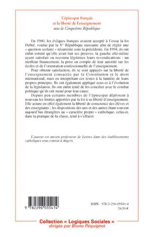 4eme L'épiscopat français et la liberté de l'enseignement sous la cinquième République