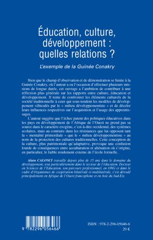 4eme Education, culture, développement: quelles relations ?