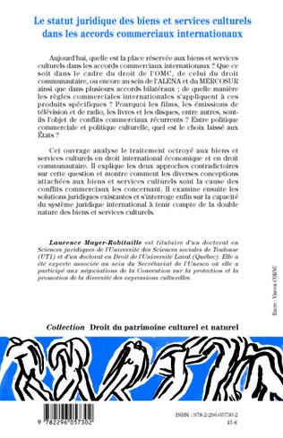 4eme Le statut juridique des biens et services culturels dans les accords commerciaux internationaux