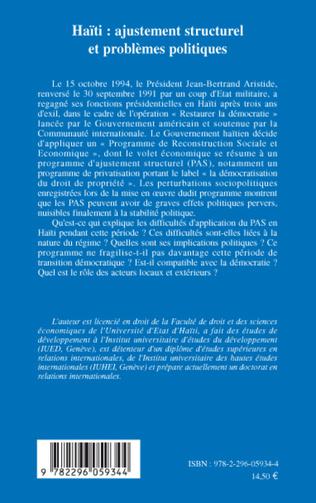 4eme Haïti : ajustement structurel et problèmes politiques