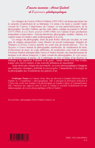 4eme L'oeuvre siamoise : Hervé Guibert et l'expérience photographique