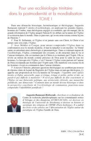 4eme Pour une ecclésiologie trinitaire dans la postmodernité et la mondialisation (Tome 1)