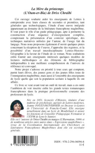 4eme La Mère du printemps (L'Oum-er-bia) de Driss Chraïbi