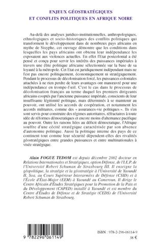4eme Enjeux géostratégiques et conflits politiques en Afrique noire