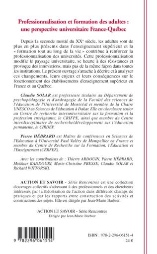 4eme Professionnalisation et formation des adultes: une perspective France Québec