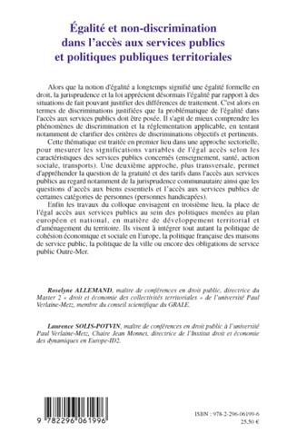 4eme Egalité et non-discrimination dans l'accès aux services publ