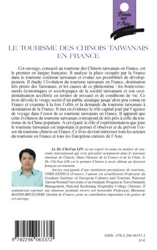 4eme Le tourisme des chinois taïwanais en France
