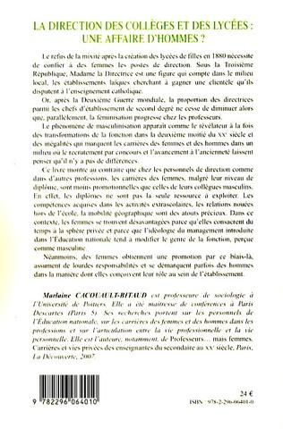 4eme La direction des collèges et des lycées: une affaire d'hommes?