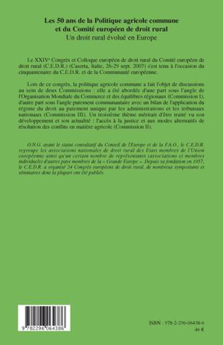 4eme Les 50 ans de la Politique agricole commune et du Comité européen de droit rural