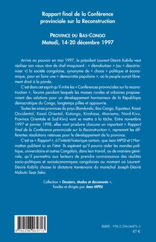 4eme Rapport final de la Conférence provinciale sur la Reconstruction (Bas Congo)