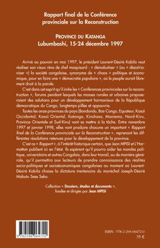 4eme Rapport final de la Conférence provinciale sur la Reconstruction