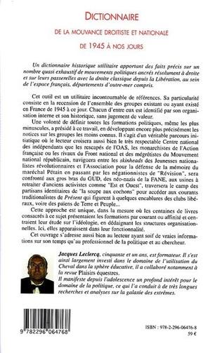 4eme Dictionnaire de la mouvance droitiste et nationale de 1945 à nos jours