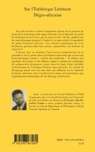 4eme Sur l'esthétique Littéraire Négro-africaine