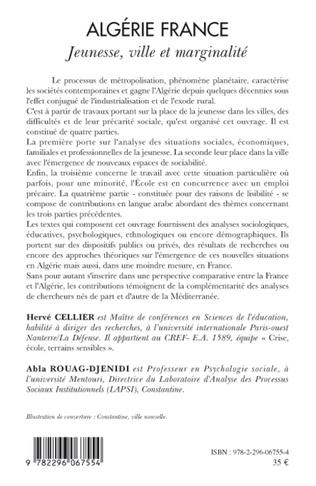 4eme Algérie France jeunesse, ville et marginalité
