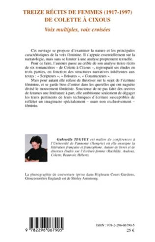 4eme Treize récits de femmes (1917 - 1997) de Colette à Cixous