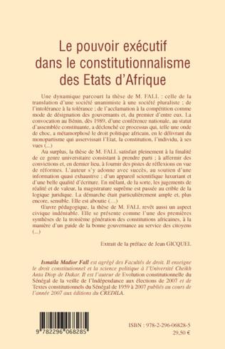 4eme Le pouvoir exécutif dans le constitutionnalisme des Etats d'Afrique
