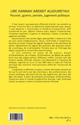 4eme Lire Hannah Arendt aujourd'hui