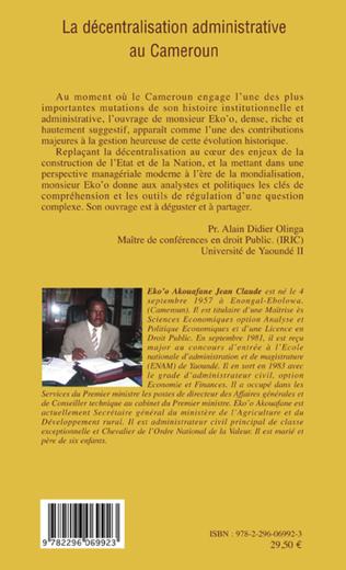 4eme La décentralisation administrative au Cameroun