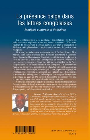 4eme La présence belge dans les lettres congolaises