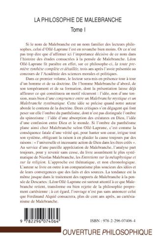 4eme La philosophie de Malebranche Tome I