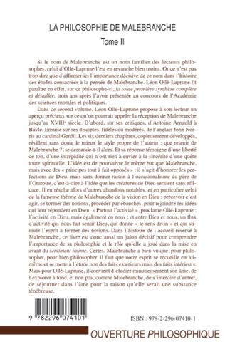 4eme La philosophie de Malebranche Tome II