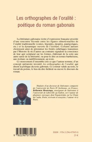 4eme Les orthographes de l'oralité : poétique du roman gabonais
