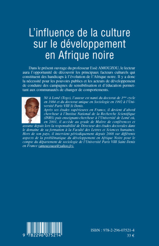 4eme L'influence de la culture sur le développement en Afrique noire