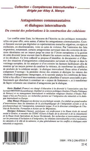 4eme Antagonismes communautaires et dialogues interculturels