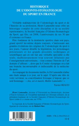 4eme L'historique de l'odonto-stomatologie du sport en France
