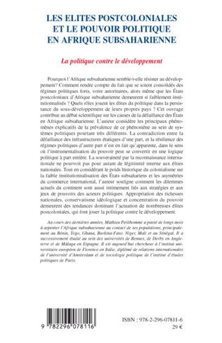 4eme Les élites postcoloniales et le pouvoir politique en Afrique subsaharienne