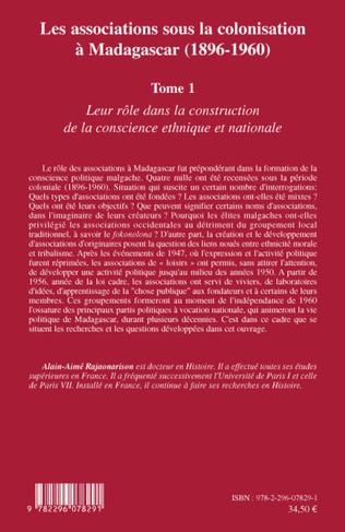 4eme Les associations sous la colonisation à Madagascar (1896-1960) Tome 1