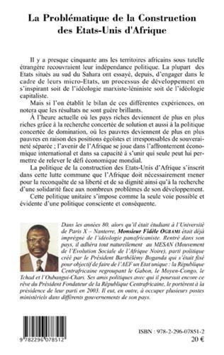4eme La Problématique de la Construction des Etats-Unis d'Afrique