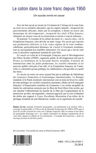 4eme Le coton dans la zone franc depuis 1950