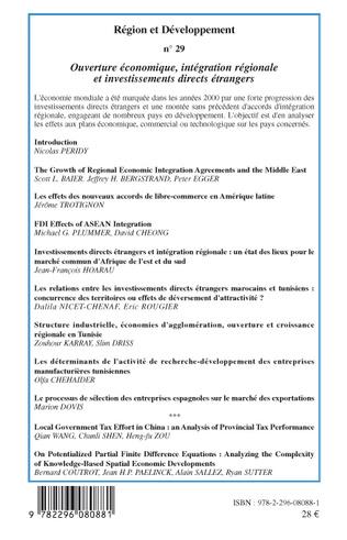4eme Ouverture économique, intégration régionale et investissements directs étrangers