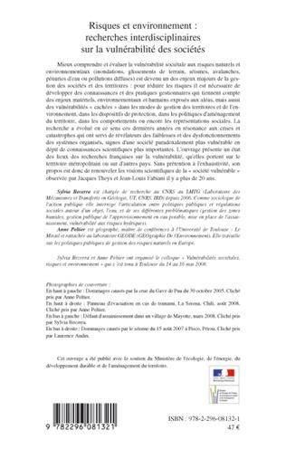 4eme Risques et environnement : recherches interdisciplinaires sur la vulnérabilité des sociétés